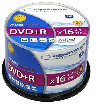 Esperanza 1115 DVD+R 4,7 GB x 16 pudełko na ciasto 50 sztuk niebieski/biały