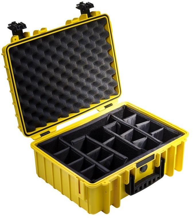 Walizka transportowa B&W outdoor.cases Typ 5000 RPD z przegrodami Żółta