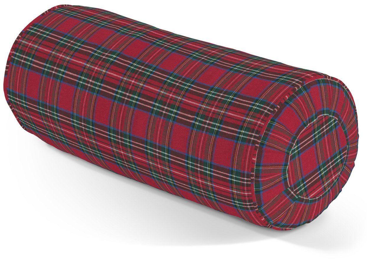 Poduszka wałek z zakładkami, czerwona kratka, Ø20  50 cm, Bristol