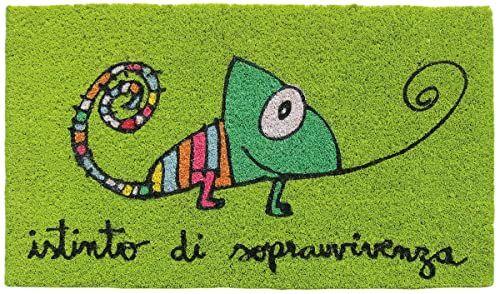 Laroom wycieraczka, motyw survival, juta i antypoślizgowy spód, zielony, 40 x 70 x 1,8 cm