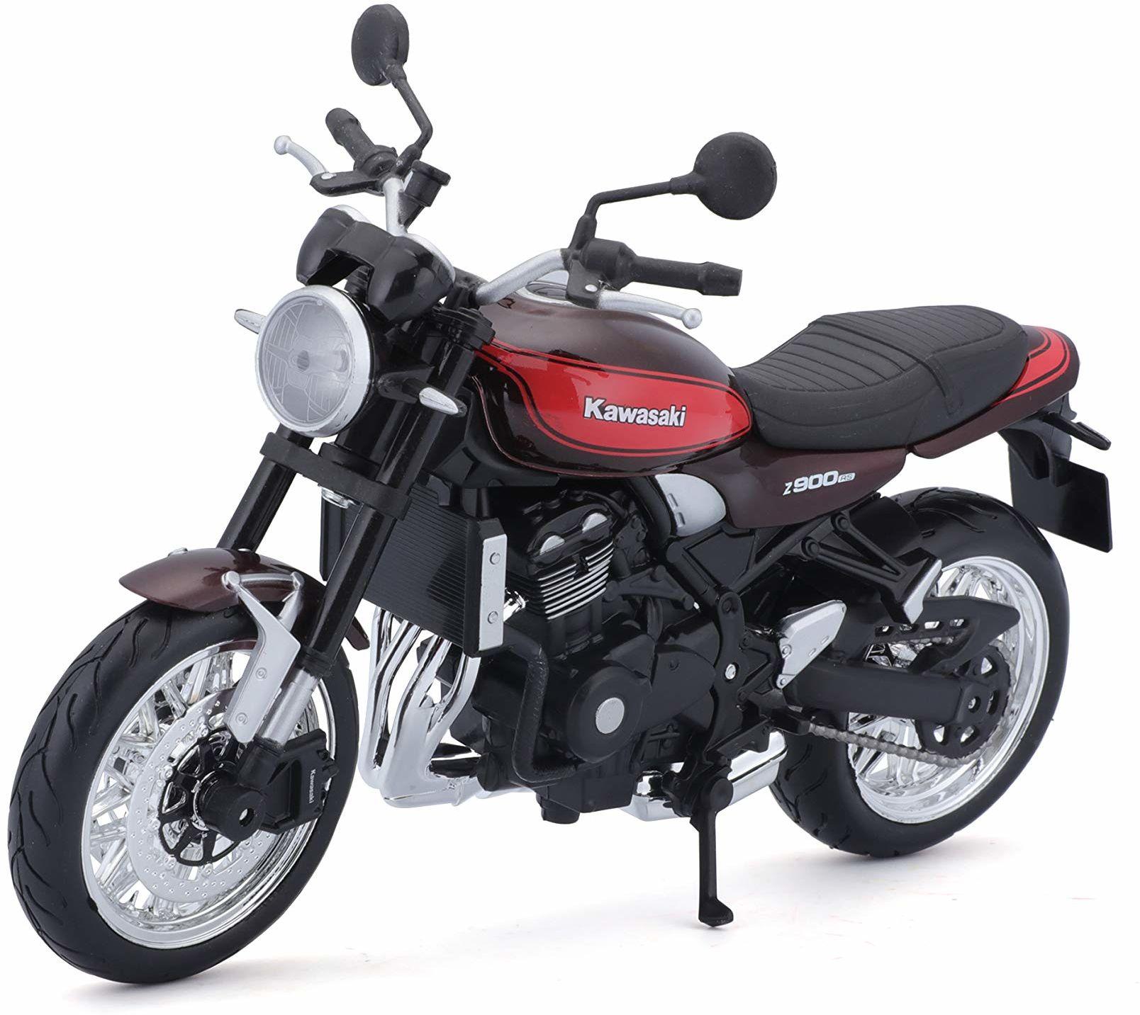 Maisto Kawasaki Z900RS: oryginalny model motocykla, skala 1:12, ze sprężynami i rozkładaną podpórką boczną, 17 cm, brązowo-pomarańczowy (5-18990)