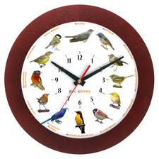 Zegar z głosami ptaków drewniany solid #1B