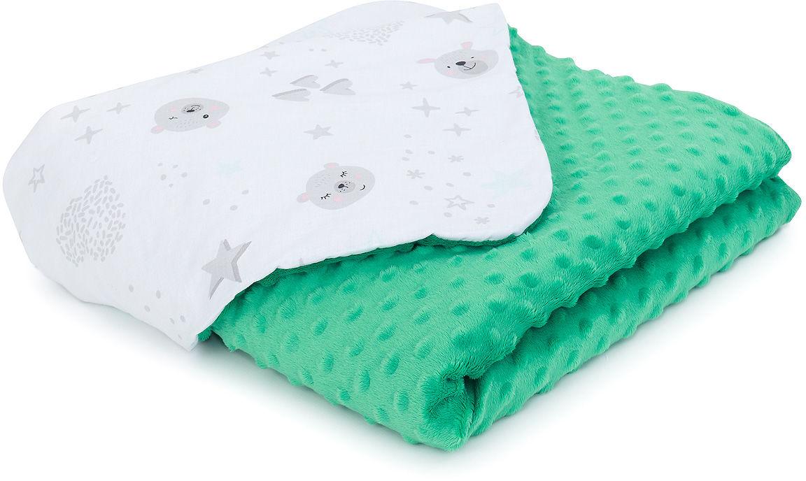 MAMO-TATO Kocyk Minky dla niemowląt i dzieci 75x100 - Miśki szare / zielony - ocieplony