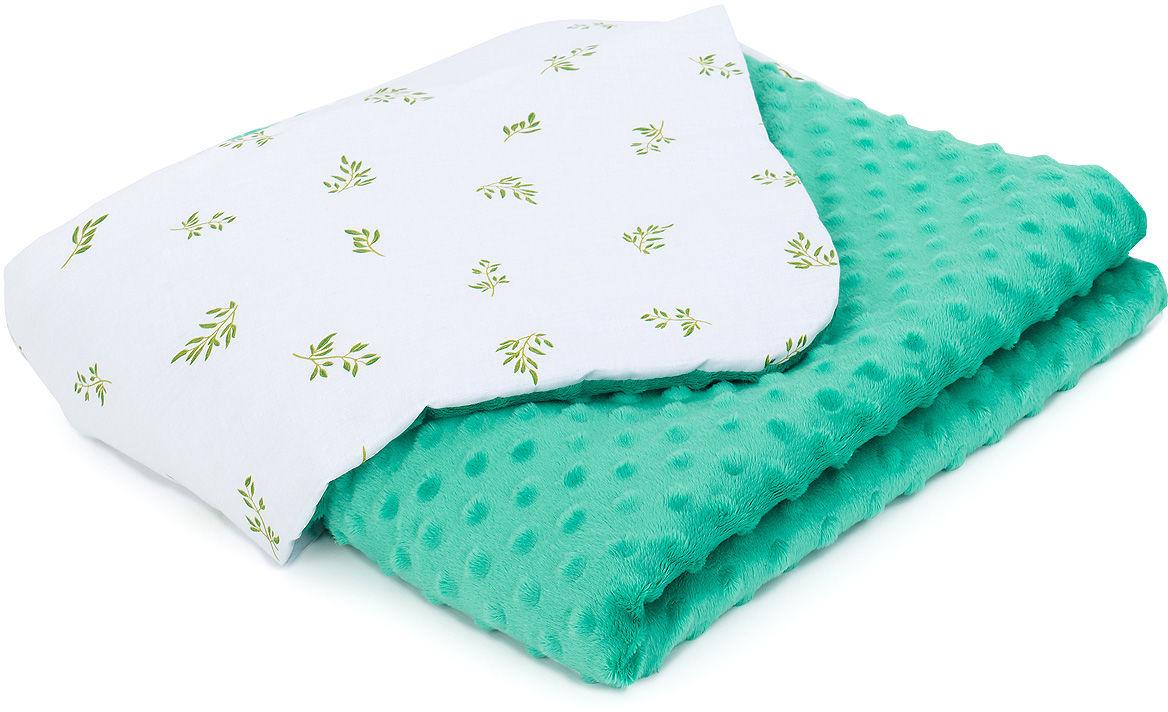 MAMO-TATO Kocyk Minky dla niemowląt i dzieci 75x100 - Mini paprotki / zielony - ocieplony