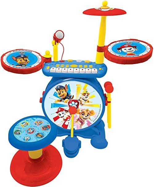 Lexibook K610PA Psi Patrol Chase zestaw elektroniczny dla dzieci, gra muzyczna, realistyczny dźwięk perkusji, klawiatura z 8 klawiszami, wtyczka MP3, siedzenie w zestawie, niebieski/czerwony