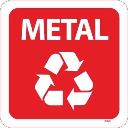 Naklejka na kosz do segregacji śmieci Metal kwadratowa