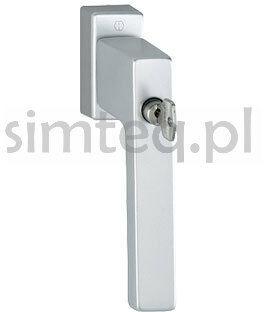 Klamka okienna z kluczem Toulon F1/srebro trzpień 32-42 mm