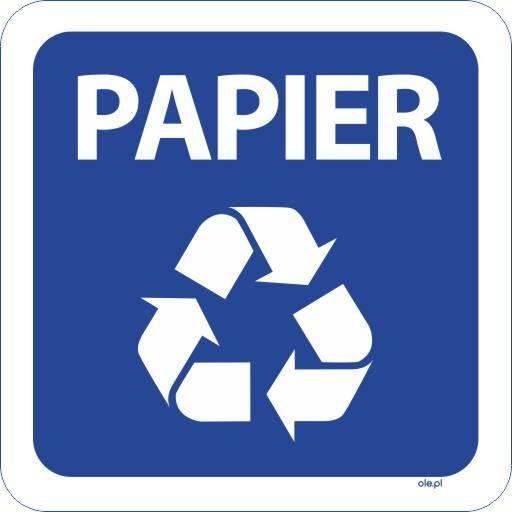 Naklejka na kosz do segregacji śmieci Papier kwadratowa