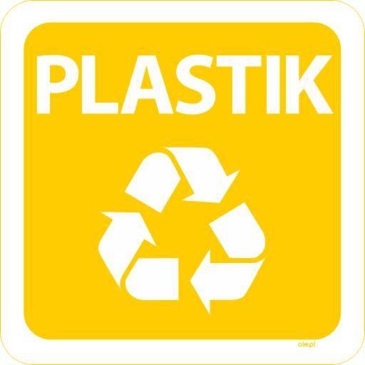 Naklejka na kosz do segregacji śmieci Plastik kwadratowa