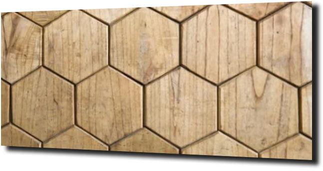 obraz na szkle Heksagon drewno 125X50