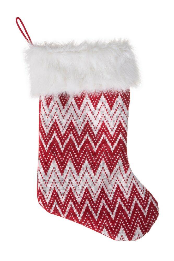 Ozdoba świąteczna Kristen skarpeta but biała czerwona zygzak Eurofirany