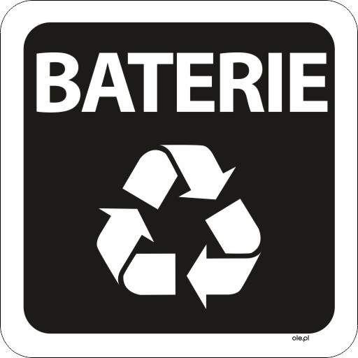 Naklejka na kosz do segregacji śmieci Baterie kwadratowa