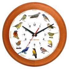 Zegar z głosami ptaków drewniany rondo #1B