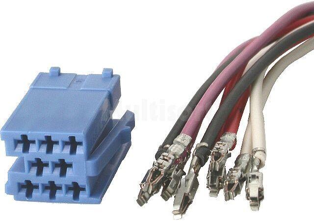 Wtyk Mini ISO 8pin z kompletem przewodów niebieski