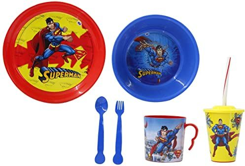 JAMARA 410132  Superman 8-częściowy zestaw naczyń dla dzieci  oficjalnie licencjonowany, nadaje się do mycia w zmywarce, talerze, misce na musli, widelec, łyżka, kubki do picia z pokrywką i słomką