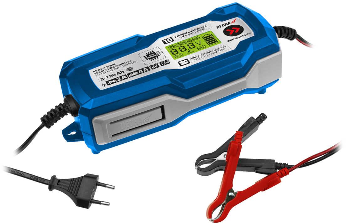DEDRA Prostownik mikroprocesorowy, ładowanie akumulatora 4A LCD, 6/12V 3-120Ah LFP DEPM020LFP