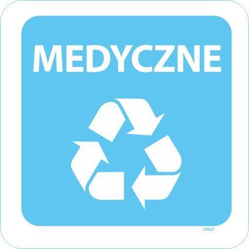 Naklejka na kosz do segregacji śmieci Medyczne kwadratowa