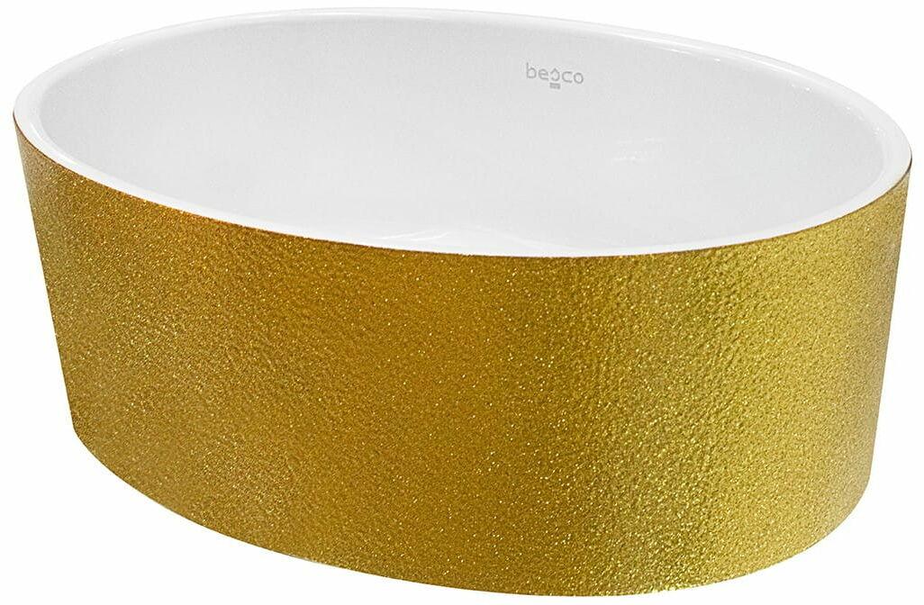 Besco umywalka nablatowa Uniqa Glam 32 x 46 x 17 cm biało-złota UMD-U-NGZ