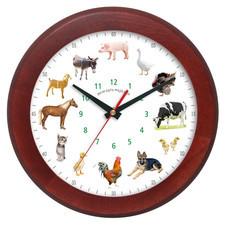 Zegar drewniany z głosami zwierząt rondo 1