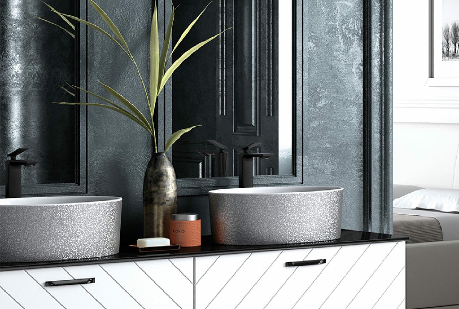 Besco umywalka nablatowa Uniqa Glam 32 x 46 x 17 cm biało-srebrna UMD-U-NGS