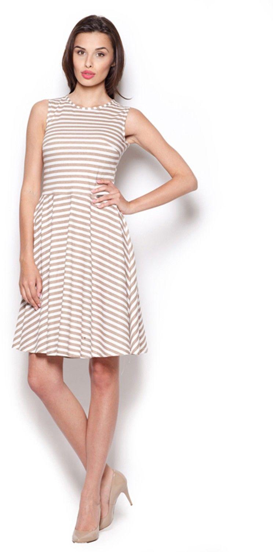 Beżowa skromna sukienka w paski