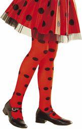 Widmann 01245 rajstopy biedronki, dziewczynki, czerwony/czarny, 7-10 lat