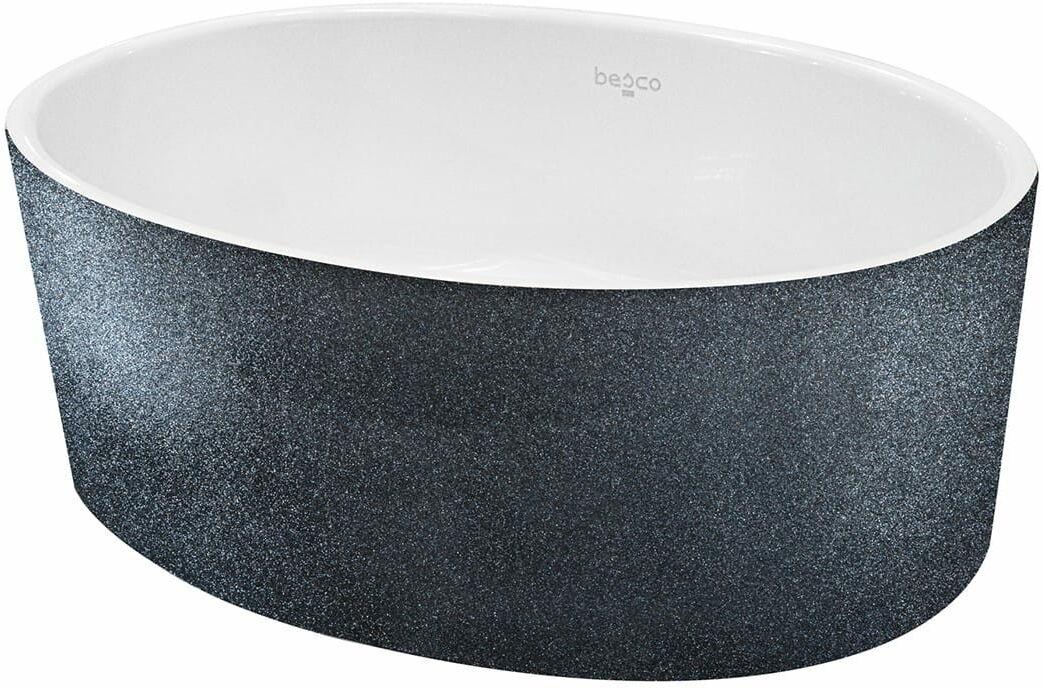Besco umywalka nablatowa Uniqa Glam 32 x 46 x 17 cm biało-grafitowa UMD-U-NGG