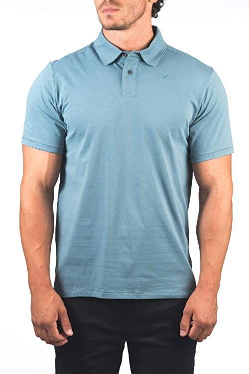 Hurley Męskie M Dri-fit Harvey Solid Polo S/S T-shirty niebieski Ozone Blue L