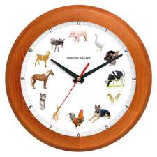 Zegar drewniany z głosami zwierząt rondo 2