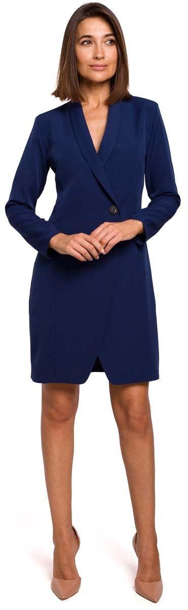Granatowa elegancka żakietowa sukienka na jeden guzik