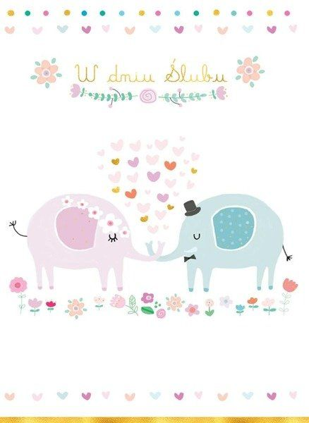 Karnet B6 Ślub - Słonie