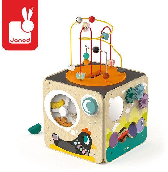 Wielofunkcyjna kostka edukacyjna z pętlą duża J08256- Janod, zabawki rozwojowe