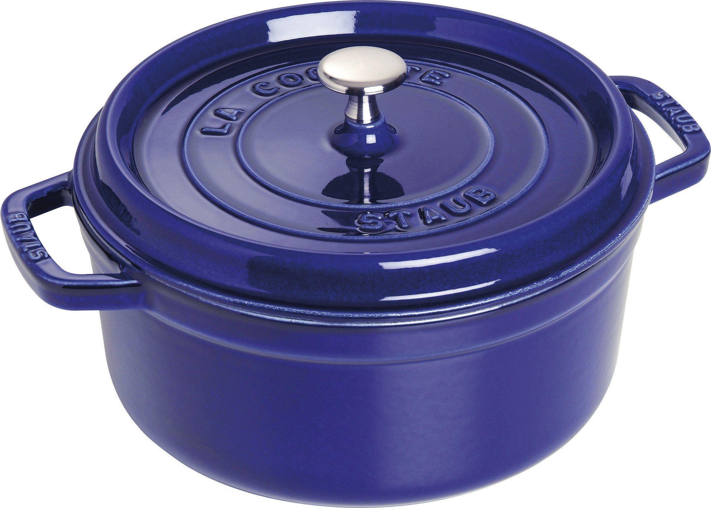 STAUB Żeliwne naczynie do pieczenia/Cocotte, okrągłe 24 cm, 3,8 l, ciemnoniebieskie