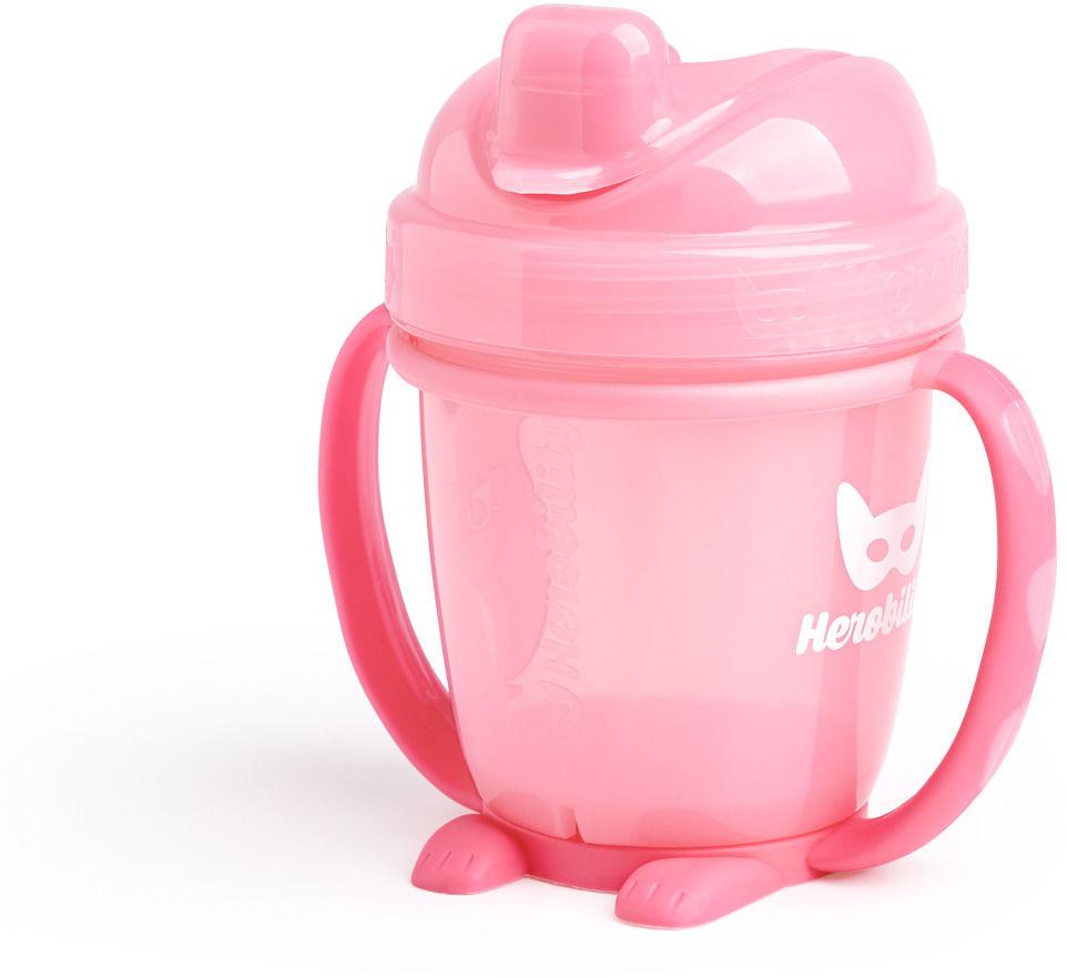 Herobility  kubek niekapek HeroSippy 140 ml, różowy