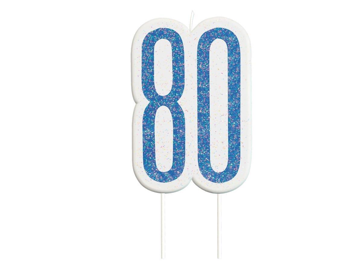 Brokatowa niebieska świeczka na 80-tke - 1 szt.