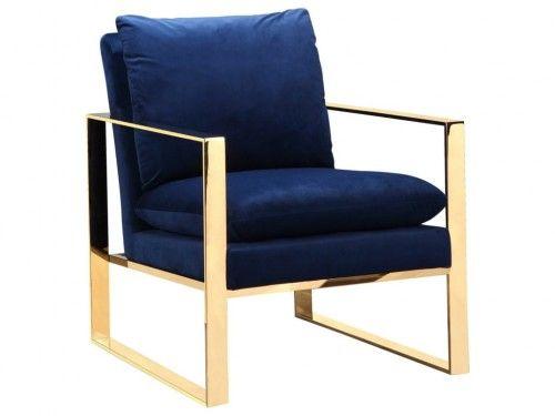Fotel Royal z poduszką aksamit złoto