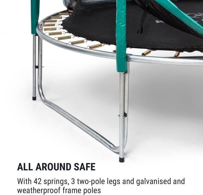 KLARFIT Jumpstarter, trampolina, średnica siatki 2,5 m, nośność 120 kg max., ciemnozielona