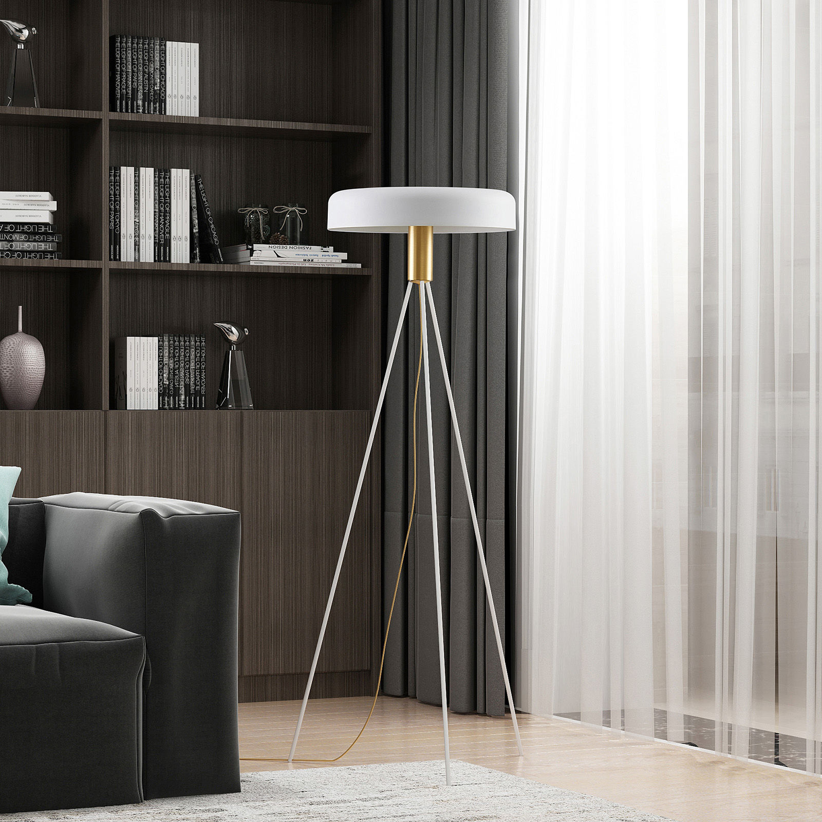 Lucande Filoreta lampa podłogowa biała