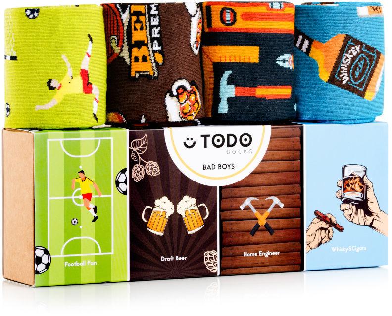 Zestaw kolorowych skarpet BAD BOYS - Piwo, Narzędzia, Whisky, Football - 4 pary