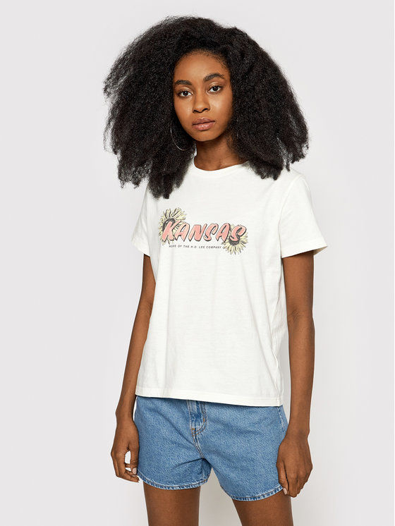 Lee T-Shirt Kansas Graphic L44HEPQB Beżowy Relaxed Fit