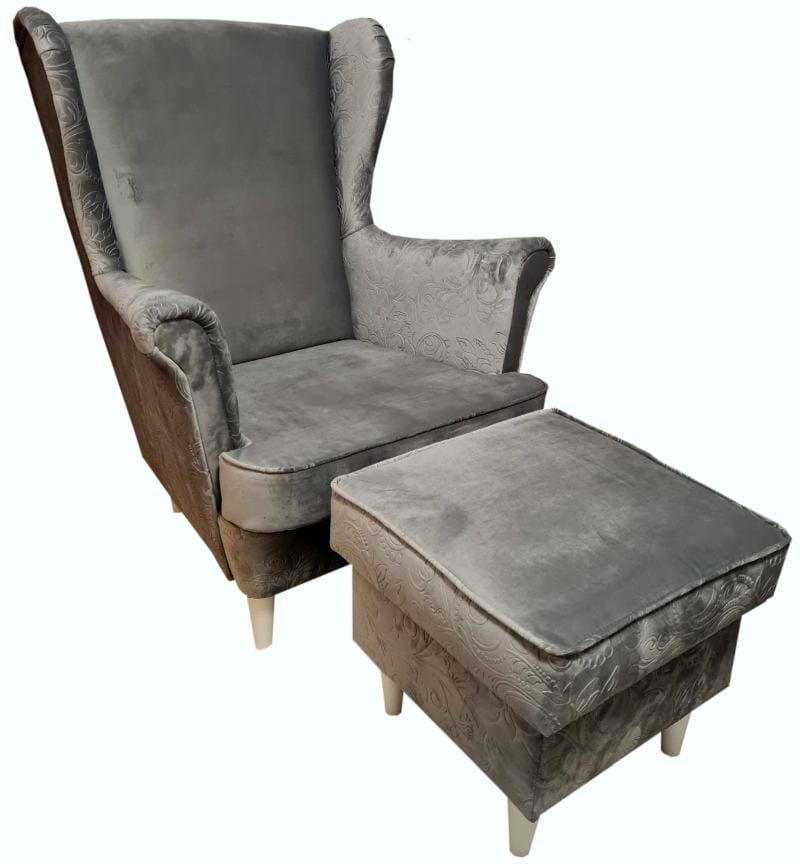 Fotel uszak Lily Decor z podnóżkiem w stylu skandynawskim