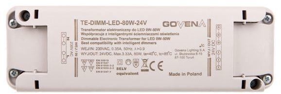 Transformator ściemnialny LED 0-80W 24V TE80W-DIMM-LED-IP40