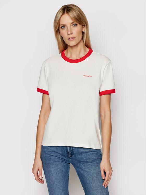 Wrangler T-Shirt Ringer W7S0DRR06 Biały Relaxed Fit
