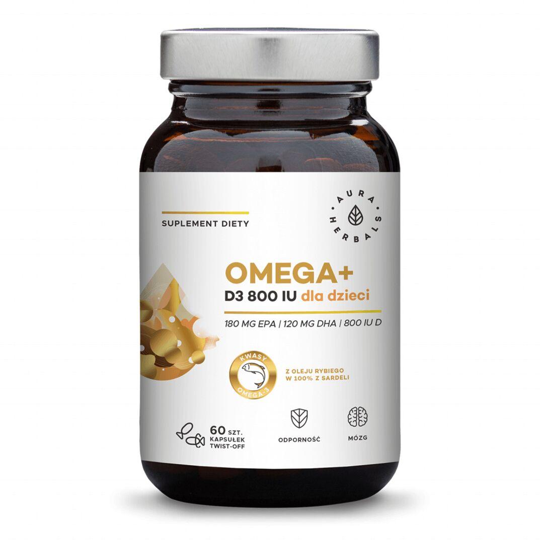 Omega+ Witamina D3 800 IU Dla Dzieci Kwasy DHA 120 mg + EPA 180 mg (60 kaps twist-off) Aura Herbals