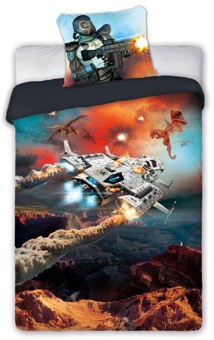 Pościel młodzieżowa 140x200 dla gracza Gamer statek kosmiczny