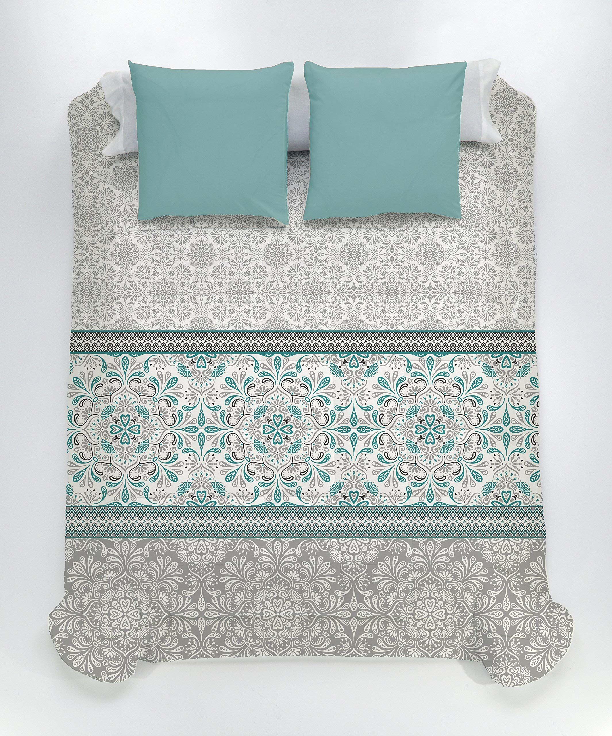 Style Javier Larrainzar Verona kołdra pikowana, z mikrofibry, niebieska, łóżko pojedyncze, 190 x 90 x 3 cm