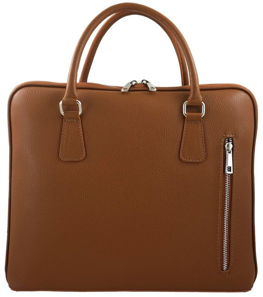 Skórzana torba na laptopa Casual - Brązowa jasna
