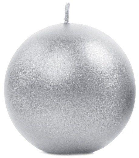 Świeca kula srebrna 8cm metaliczna 1 szt SKUMET80-018