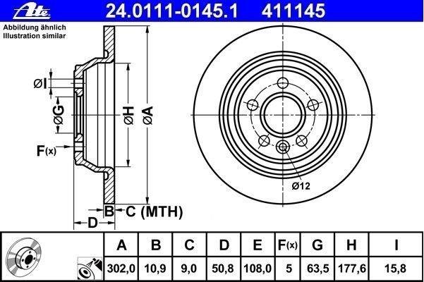 tarcze hamulcowe ATE 24.0111-0145.1 - tył - 302 mm