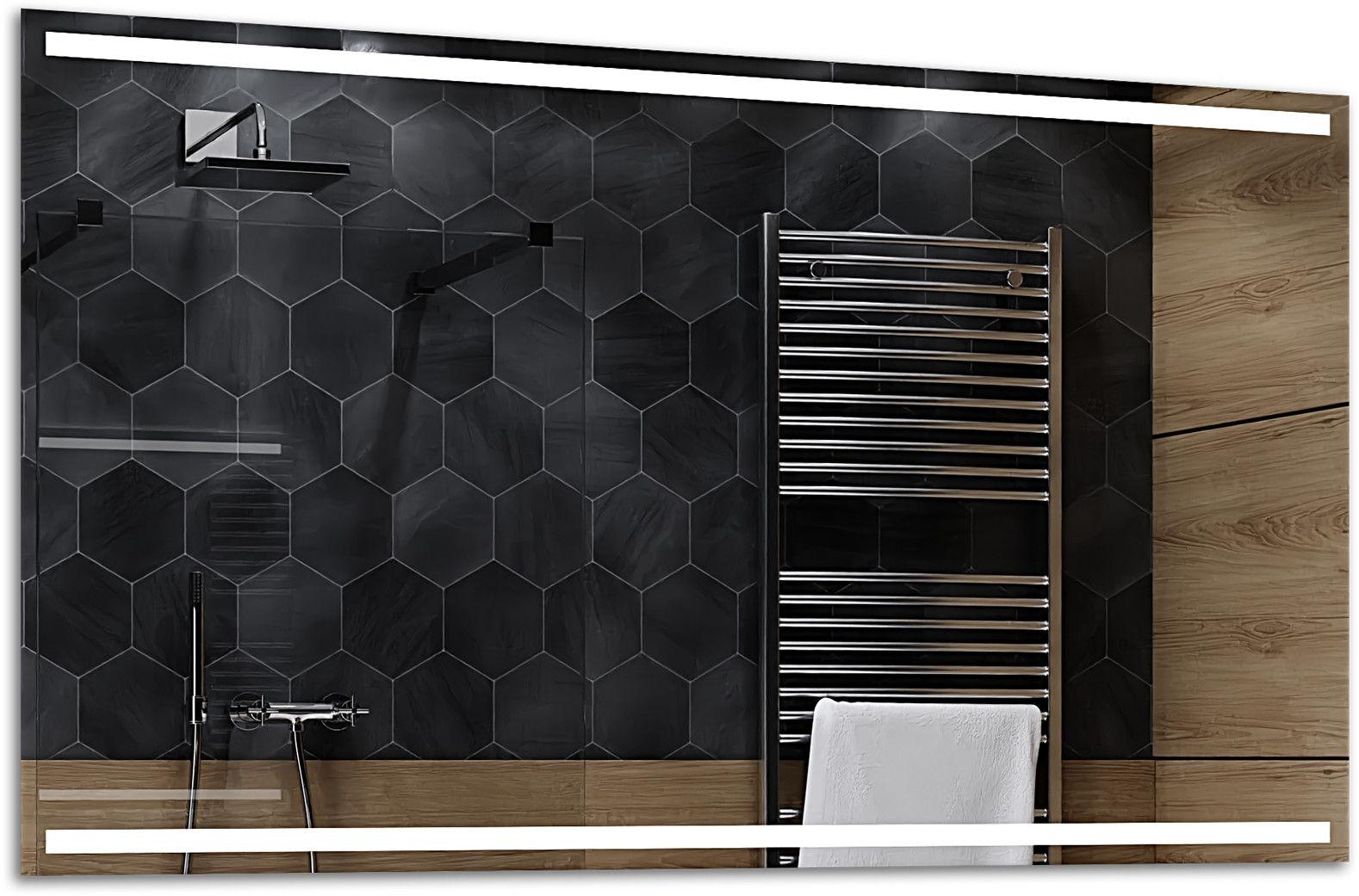 Alasta Lustro Łazienkowe z Podświetleniem LED - rozmiar 80x60cm - zimny kolor LED - Model Denver